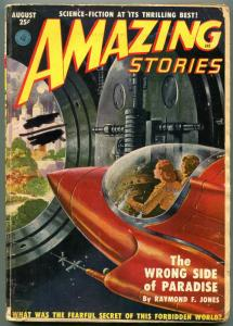 Amazing Stories Pulp August 1951- The Wrong Side of Paradise- Rocket cover