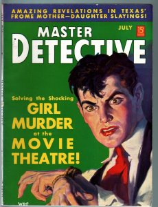 MASTER DETECTIVE PULP-JULY 1938-MOVIE THEATER MURDER-QUEEN OF FORGERS FN/VF