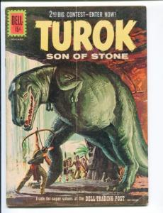 TUROK SON OF STONE #25-DELL-1961-DINSOSAUR COVER AND STORIES- RARE VG