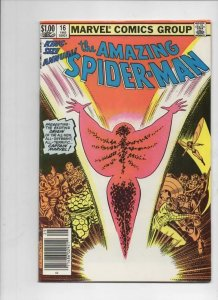 Amazing SPIDER-MAN #16 Annual, FN, 1st Monica Rambeau, Captain Marvel, 1963 1982