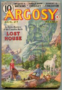 Argosy Pulp August 27 1938- LOST HOUSE- Canadian North F/VF