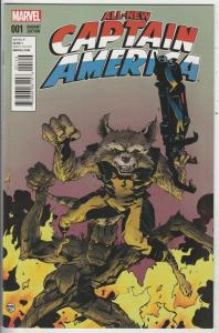 All-New Captain America Variant Rocket Racoon, Groot #1 (Jan-15) NM+ Super-Hi...