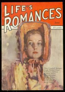 LIFE'S ROMANCES PULP #1 JUNE 1941-PEGGY GADDIS STORY- VF