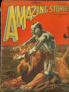 AMAZING STORIES-1928 OCT-ROBOT FIGHTS LION ON COVR-PULP G