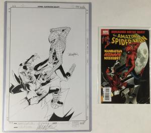 Amazing Spider-man 551 Original Art Cover Salvador Larroca Signed Gorgeous!!