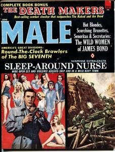 Male June 1965-James Bond 007 issues-mort kunstler cvr-bad mags-pulp