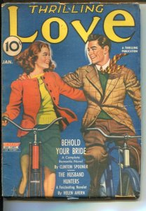 Thrilling Love 1/1943-bicycle cover-romace pulp-Husband Hunters by Helen Ah...