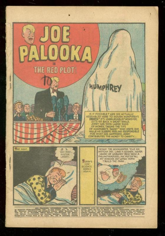 JOE PALOOKA #117 1960-HARVEY COMICS-RED PLOT-BLACK CAT FR / HipComic