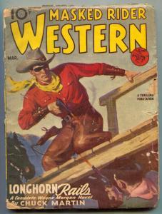 Masked Rider Western Pulp March 1946- Longhorn Rails- reading copy