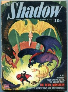 The Shadow Pulp February 1 1943- Devil Monsters- George Rozen cover G/VG
