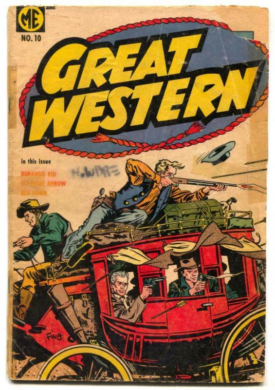 Great Western #10 1954- DURANGO KID- Red Hawk F/G