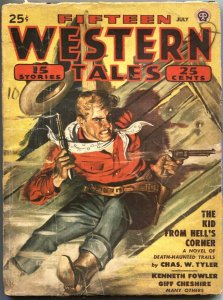 FIFTEEN WESTERN TALES-JULY 1949-TALMAGE POWELL-GUNFIGHTS-PULP THRILL