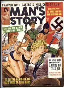 Man's Story March 1964- Nazi terror cover- Castro Hell Cats of Lust