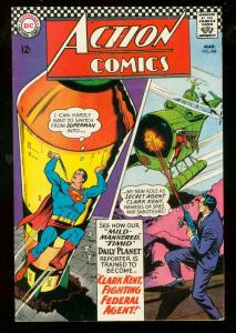 ACTION COMICS #348 1967-SUPERMAN-MISSLE-H BOMB PANEL FN/VF