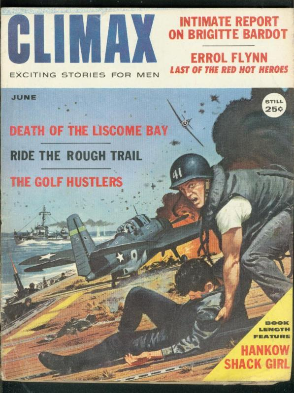 CLIMAX JUNE 1959-ERROL FLYNN-BRIGITTE BARDOT-WAR COVER VG