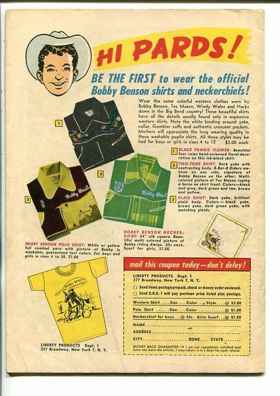 BOBBY BENSON'S B-BAR-B RIDERS #1-1950-BOB POWELL-SOUTHERN STATES PEDIGREE-vf