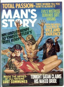 Man's Story August 1974- wild hippie menace cover- cheesecake