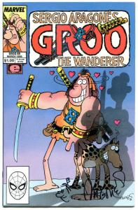 GROO the WANDERER #49, NM, Signed  Sergio Aragones w/ head art, Chakaal, Love