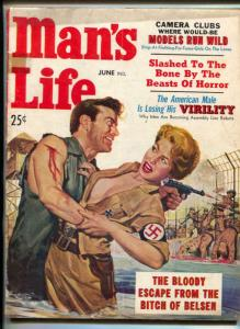 Man's Life Magazine June 1957- BITCH OF BELSEN- Nazi cover VG
