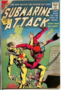 Submarine Attack #34 1962-Charlton-frogman fight cover0Nuclear sub story-VF