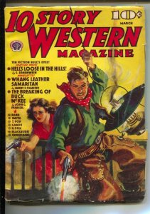 10 Story Western 3/1940-Popular-Gunfight cover-Pulp thrills by Harold Cruiksh...