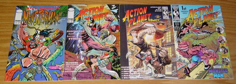 Action Planet Comics #1-3 VF/NM complete series + monsterman PHIL HESTER ordway
