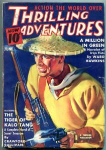 Thrilling Adventures Pulp June 1938- Tiger of Kalo Tang- Million in Green FN