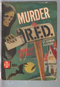 Murder R.F.D. 1943-Euclid-Herman Peterson-hooded skeleton & bats cover-VG
