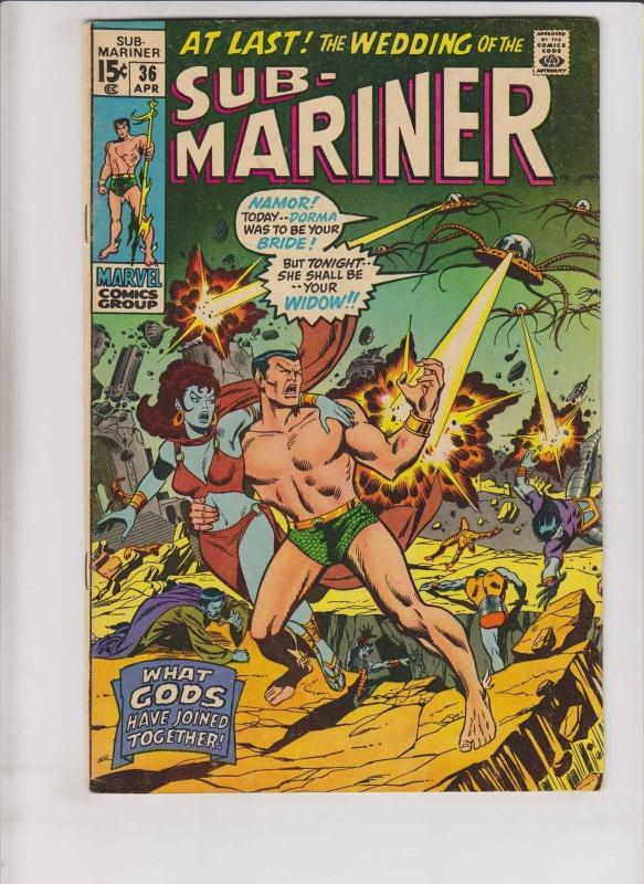 Prince Namor, the Sub-Mariner #36 FN april 1971 - wedding of lady dorma - marvel