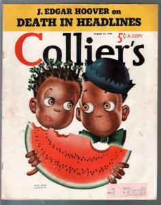 Collier's 8/13/1938-watermelon cover-Ben Jorj Harris-Hoover-FBI-VG+