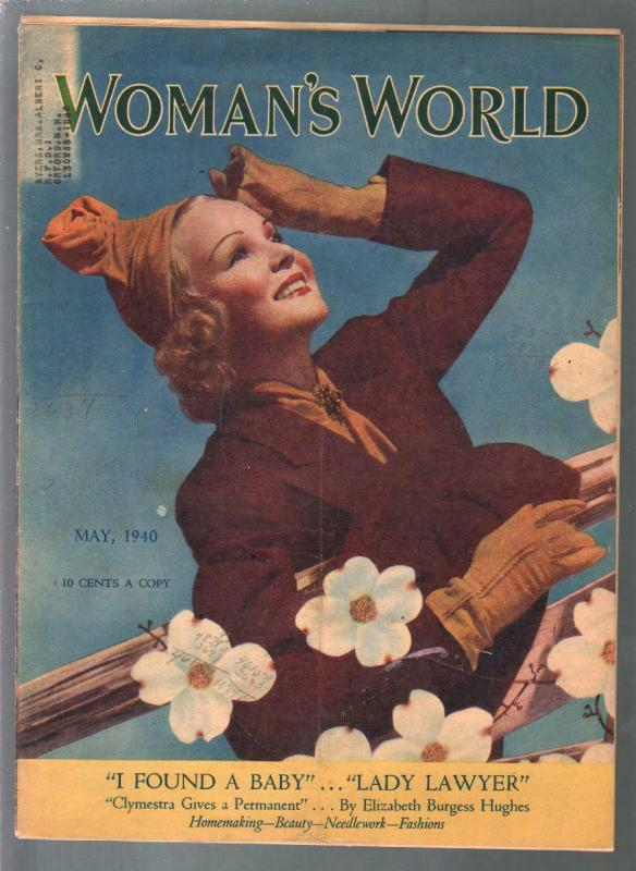 Woman's World 5/1940-fashion-beauty tips-pin-up girl cover-VG