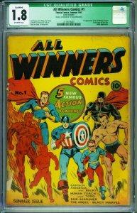 All Winners #1 CGC 1.8 Q 1941- CAPTAIN AMERICA- Human Torch- 2119115001