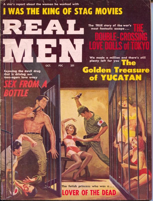 Real Men 10/1963-Stanley-WWII-Jap soldiers torture spicy women-cheesecake-VG