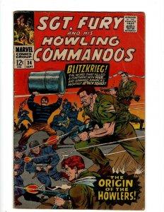 Sgt. Fury & His Howling Commandos # 34 VG/FN Marvel Comic Book Nick Avengers KD1