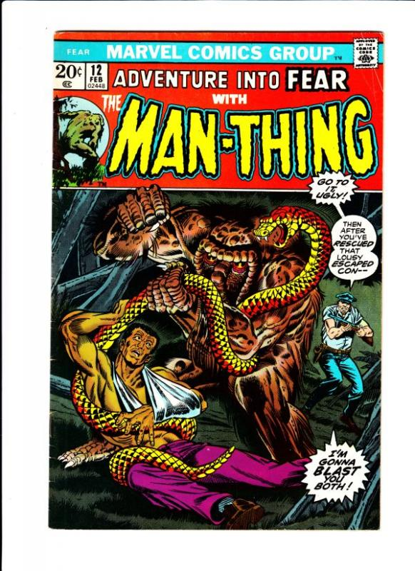 Adventures Into Fear #12 (Feb-73) FN/VF- Mid-High-Grade Man-Thing