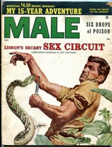 Male Magazine November 1955-SNAKE ATTACK COVER-RUTH HAMPTON-MURDER