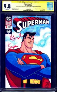 Superman #1 BLANK CGC SS 9.8 signed George Newbern ANIMATED SKETCH Nick Justus