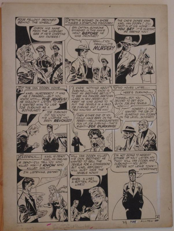 JOE KUBERT original art, ALL NEW COMICS #12 pg 4, 15x 20,1946, Bombs of Diamonds