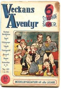 VECKANS AVENTYR #49-1946-SUPERMAN-BATMAN-PENGUIN-POPEYE-JUNGLE JIM