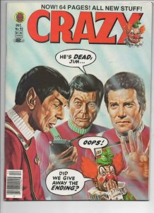 CRAZY #92 Magazine, FN+, Star Trek Kirk Spock Bones 1973 1982, more in store