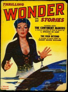 Thrilling Wonder Stories Pulp April 1951- Spicy Girl Retro Rocket cover G