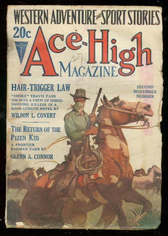 ACE-HIGH MAGAZINE 2nd NOV 1927-WESTERN & SPORTS PULP FR/G