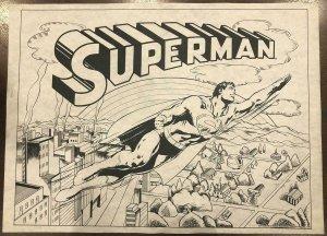 VINTAGE SUPERMAN FABRIC 18 X 24 POSTER NEAL ADAMS DC COMICS 1976 BIN