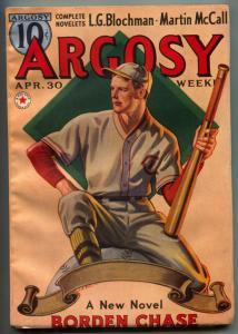 Argosy Pulp April 30 1938-Borden Chase- Baseball cover FN-