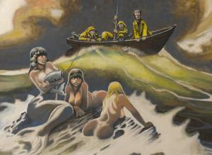 DON MARQUEZ original art, Mermaid, Cover 'CARTUNE LAND', 24x30 canvas, 1986