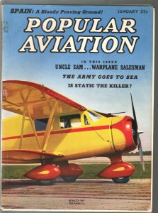 Popular Aviation 1/1938-Waco N cover-pulp thrills-pre WWII military air buildu