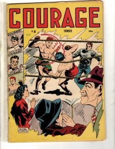 Courage Comics # 2 FN Golden Age Comic Book Boxing Walter Johnson Sheriff JL10