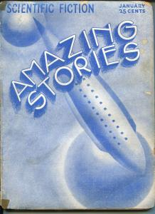AMAZING STORIES -01/1933-ART DECO ROCKET SHIP COVER-BEDSHEET ISSUE-RARE-good