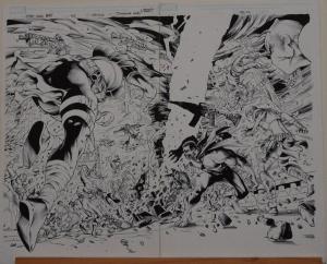 NEVES / EDGAR TADEO original art, X-MEN WORLD'S APART, Double Splash pgs 2-3