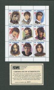 John Lennon Commemorative St.Vincent Stamp Sheet  1995